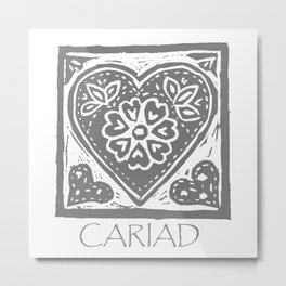 Cariad, darling sweetheart Welsh lino print grey Metal Print