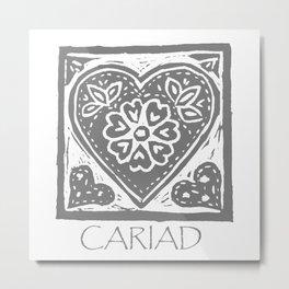 Cariad, darling sweetheart Welsh lino print grey Metal Print