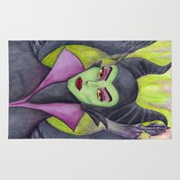 maleficent Area & Throw Rugs featuring Maleficent by Tanya Davis Art