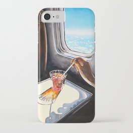 Glass in Airplane | Retro Mid Century | Mad Men Painting iPhone Case