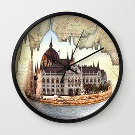 Budapest Globe Map Wall Clock