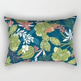 Succulent Garden Navy Rectangular Pillow