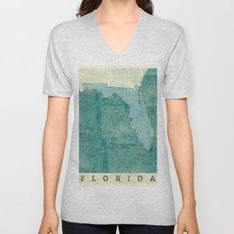Florida State Map Blue Vintage Unisex V-Neck