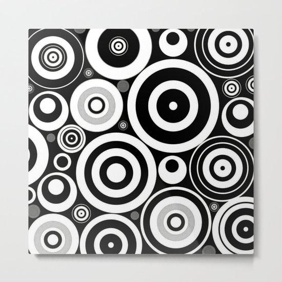 Black and white Circles Metal Print