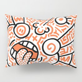 """The Face"" - inspired by Keith Haring v. orange Pillow Sham"