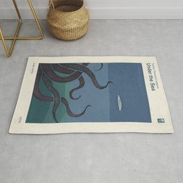 Jules Verne's Twenty Thousand Leagues Under the Sea - Minimalist literary design, literary gift Rug