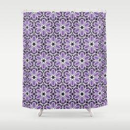 Symmetric Flower Pattern in Purple Shower Curtain