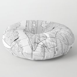 New York City White Map Floor Pillow