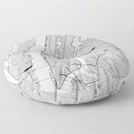 New York City White Map Floor Pillow