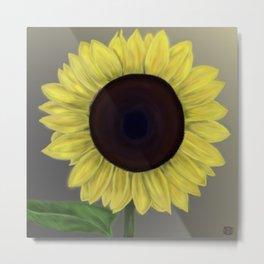 Happy Sunflower Digital Art Paintin Metal Print
