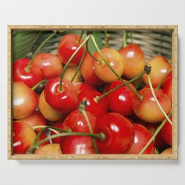 Cherries in a Basket Close Up Serving Tray