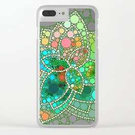 Bubble Green Abstract Flower Design Clear iPhone Case