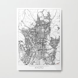 Kyoto Map White Metal Print