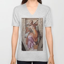 The Libyan Sybil Sistine Chapel Ceiling by Michelangelo Unisex V-Neck