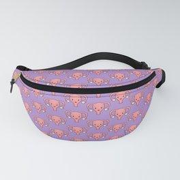 Happy Cute Uterus pattern in Purple Fanny Pack