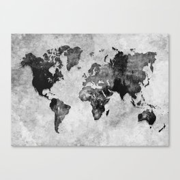 map black and white #map #world Canvas Print