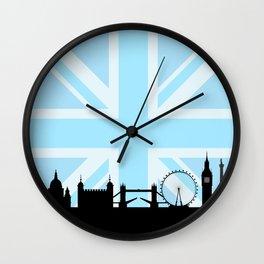 London Sites Skyline and Blue Union Jack/Flag Wall Clock