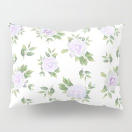 Botanical lavender white green watercolor floral Pillow Sham