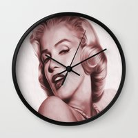 marilyn Wall Clocks featuring Marilyn  by Jason Michael