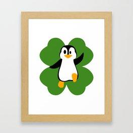 Penguin On 4 Leaf Clover  St. Patricks Day Pun Framed Art Print