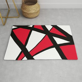 Apple Red Geometric Star Abstract Rug
