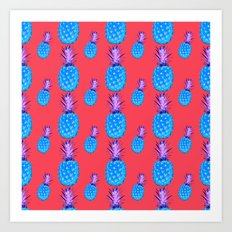 Tropical Punch, Pineapple Art Pattern, Trendy, Hipster, Bright Colors, Fuchsia Pink, Blue, Lavender, Art Print