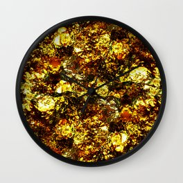 Solid Gold - Abstract, metallic gold textured pattern Wall Clock