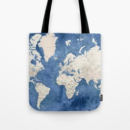 Light brown and blue watercolor detailed world map Tote Bag