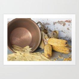 cob and pot with flour Art Print