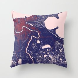New Orleans, LA, USA, Blue, White, City, Map Throw Pillow