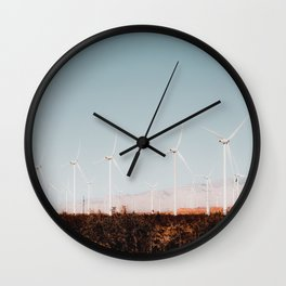 Wind turbine in the desert with summer blue sky at Kern County California USA Wall Clock