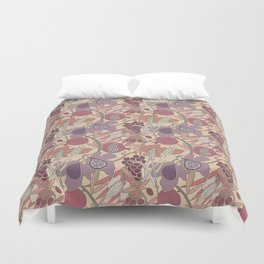 Seven Species Botanical Fruit and Grain in Mauve Tones Duvet Cover