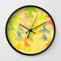 planes Wall Clocks featuring Planes by Megan Spencer