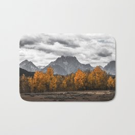 Teton Fall - Autumn Colors and Grand Tetons in Black and White Bath Mat
