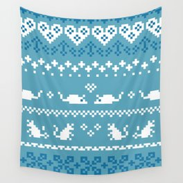 Pixel Rats Blue Wall Tapestry