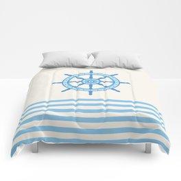 AFE Baby Blue Helm Wheel, Nautical Art Comforters