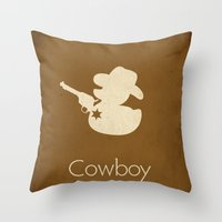 cowboy Throw Pillows featuring Cowboy by S. Vaeth