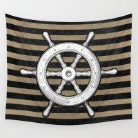 pirate ship Wall Tapestries featuring ship wheel by pakowacz
