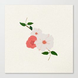 Love-Ly Flowers Pink & White Canvas Print