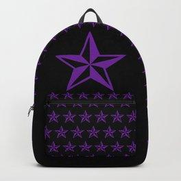 Purple Tattoo Style Star on Black Backpack