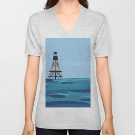Fowey Rocks Lighthouse Unisex V-Neck