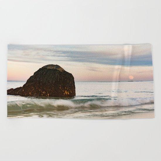 Pastel Moon rise at the beach Beach Towel