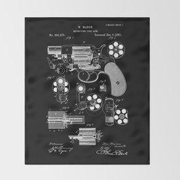 1881 Revolver Patent - White on Black Throw Blanket