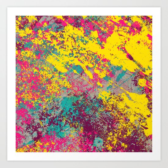 Abstract TexTure Uno - Pink, Purple, Blue And Yellow Art Print