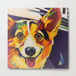 Pop Art Corgi Metal Print