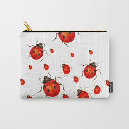 RED LADY BUGS  SWARM  ON WHITE COLOR Carry-All Pouch