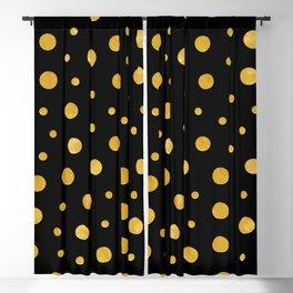 Elegant polka dots - Black Gold Blackout Curtain