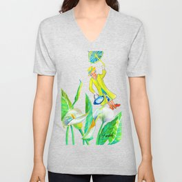 God save the Queen and the calla lilies Unisex V-Neck