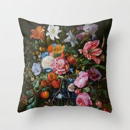 Vase of Flowers II Jan Davidsz de Heem Throw Pillow