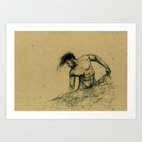 The male figure drawing Art Print